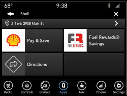 The Uconnect Market App lets drivers pay for gas and earn rewards points at Shell Gas Stations