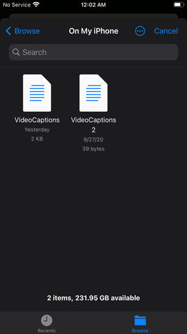 MixCaptions example menu to import srt files from file app