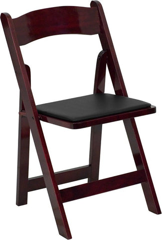 Mahogany Wood Folding Chair with Black Seat Rental