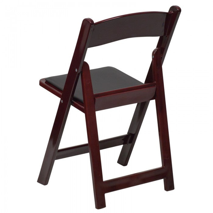 Fantastic Mahogany Wood Folding Chair With Black Seat Rental Chair Ncnpc Chair Design For Home Ncnpcorg