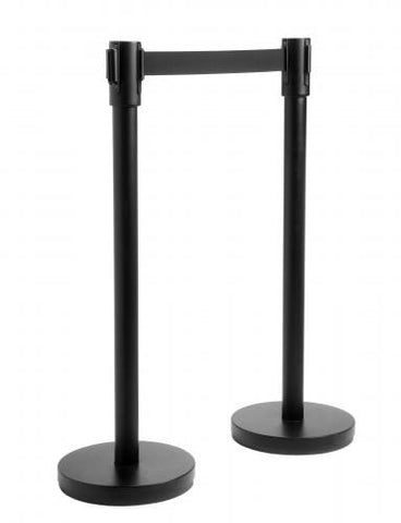 Stanchions - Retractable Belt, Black