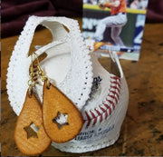 Game-Used Baseball Hand-Dyed Leather Earrings