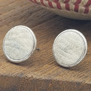 Leather Earrings from MLB-Authenticated Game-Used Baseball - 11mm Post - Silver or gold plated - choose your team