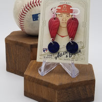 Hand-Dyed Baseball Leather Earrings - Angels @ Blue Jays 5/24/18 - Shohei Ohtani (!)