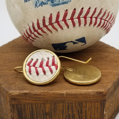 Game-Used Baseball Earrings - 18mm 24k Gold Plated - AZ @ SF - A. McCutchen Career Base Hit #1,472 - Z. Godley Career Win #20 - Also B. Posey and E. Longoria