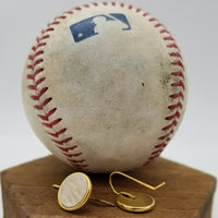 Leather Earrings from MLB-Authenticated Game-Used Baseball - 11mm Drop - Silver or gold plated - choose your team