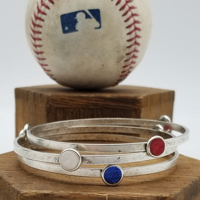 Game-Used Baseball Bangle Bracelet Set - Silver Plated - NYM @ CHC - J. De Grom to A. Rizzo. Career Base Hit #1,022