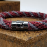 "Hand-Braided Rope Bracelet made from Yarn Baseball Windings - 8.5"" - Washington State University - NCAA Baseball"