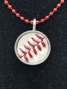 Silver Charm Necklace made with used NCAA Baseball - Washington State University