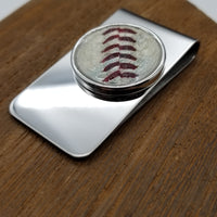 Stainless Steel Money Clip made with used NCAA Baseball - Washington State University
