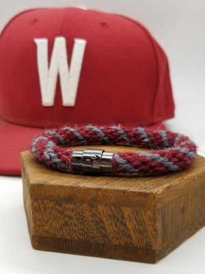 Hand-Braided Rope Bracelet made from Yarn Baseball Windings - 8.5