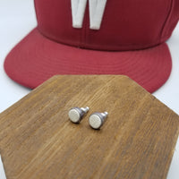 Leather and Silver 6mm stud earrings made with used NCAA Baseball - Washington State University