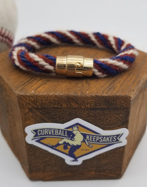 "8"" Rope Bracelet made from Yarn Baseball Windings - MIA@NYM - B. Colon Career Win #207"