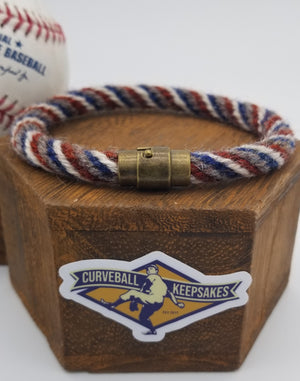"9.25"" or 9.5"" Rope Bracelet made from Yarn Baseball Windings - MIA@NYM - B. Colon Career Win #207"