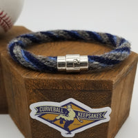 "9.5"" Rope Bracelet made from Yarn Baseball Windings - MIN@TB - M. Smith Career Base Hit #133"