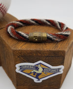 "8"" Rope Bracelet made from Yarn Baseball Windings - AZ@SF 4/9/18 - A. McCutchen Base Hit. Also Posey & Longoria"