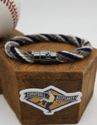 "8.5"" Rope Bracelet made from Yarn Baseball Windings - SEA@MIN - A. Reed to Ichiro Suzuki"