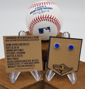 Game-Used Baseball Hand-Dyed Leather Stud Earrings - Silver Plated - NYM @ CHC - J. De Grom to A. Rizzo. Career Base Hit #1,022