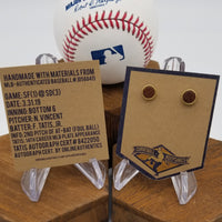 Game-Used Baseball Hand-Dyed Leather Stud Earrings - Gold Plated - SF @ SD - F. Tatis 14th career plate appearance