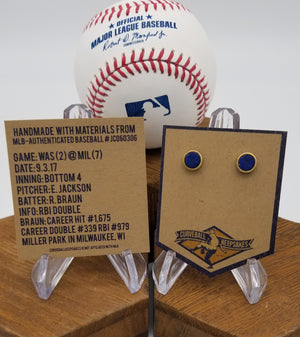 Game-Used Baseball Hand-Dyed Leather Stud Earrings - Gold Plated - WAS @ MIL - R. Braun Career Base Hit #979