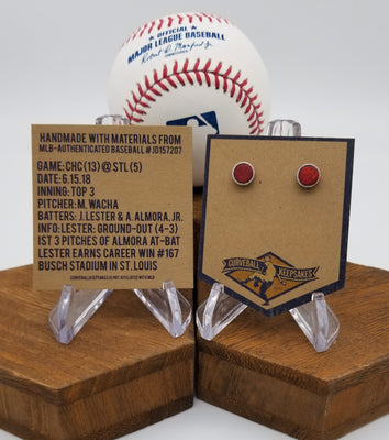 Game-Used Baseball Hand-Dyed Leather Stud Earrings - Silver Plated - CHC @ STL - Wacha and Lester