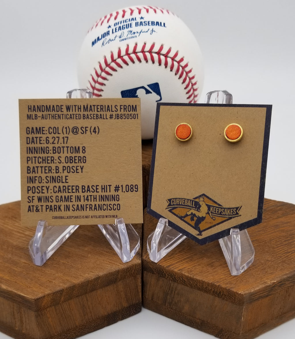 Game-Used Baseball Hand-Dyed Leather Stud Earrings - Gold Plated - COL @ SF - B. Posey Career Base Hit #1,089