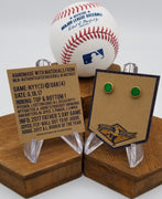 Game-Used Baseball Hand-Dyed Leather Stud Earrings - Gold Plated - NYY @ OAK - A. Judge - Father's Day Game