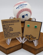 Game-Used Baseball Hand-Dyed Leather Stud Earrings - Silver Plated - TB @ SEA - D. Gordon Career Base Hit #886