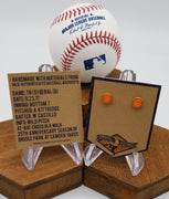 Game-Used Baseball Hand-Dyed Leather Stud Earrings - Gold Plated - TB @ BAL - Camden Yards 25th Anniversary