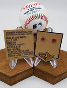 Game-Used Baseball Hand-Dyed Leather Stud Earrings - Silver Plated - ATL @ WAS - Scherzer and Albies