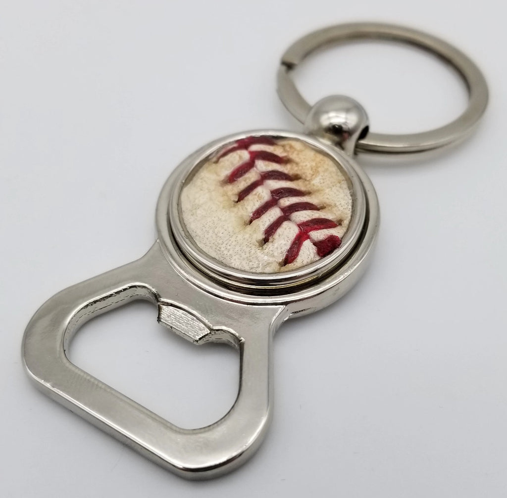 Game-Used Baseball Stainless Steel Bottle Opener Keychain - MIA@CHW 7.24.19 - Z. Gallen Career Win #1