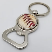 Game-Used Baseball Stainless Steel Bottle Opener Keychain - LAA@SEA 4.2.19 - Cahill to Haniger and Santana