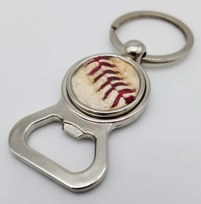 Game-Used Baseball Stainless Steel Bottle Opener Keychain - CIN@CHC 8.23.18 - Hamels Career Win #156