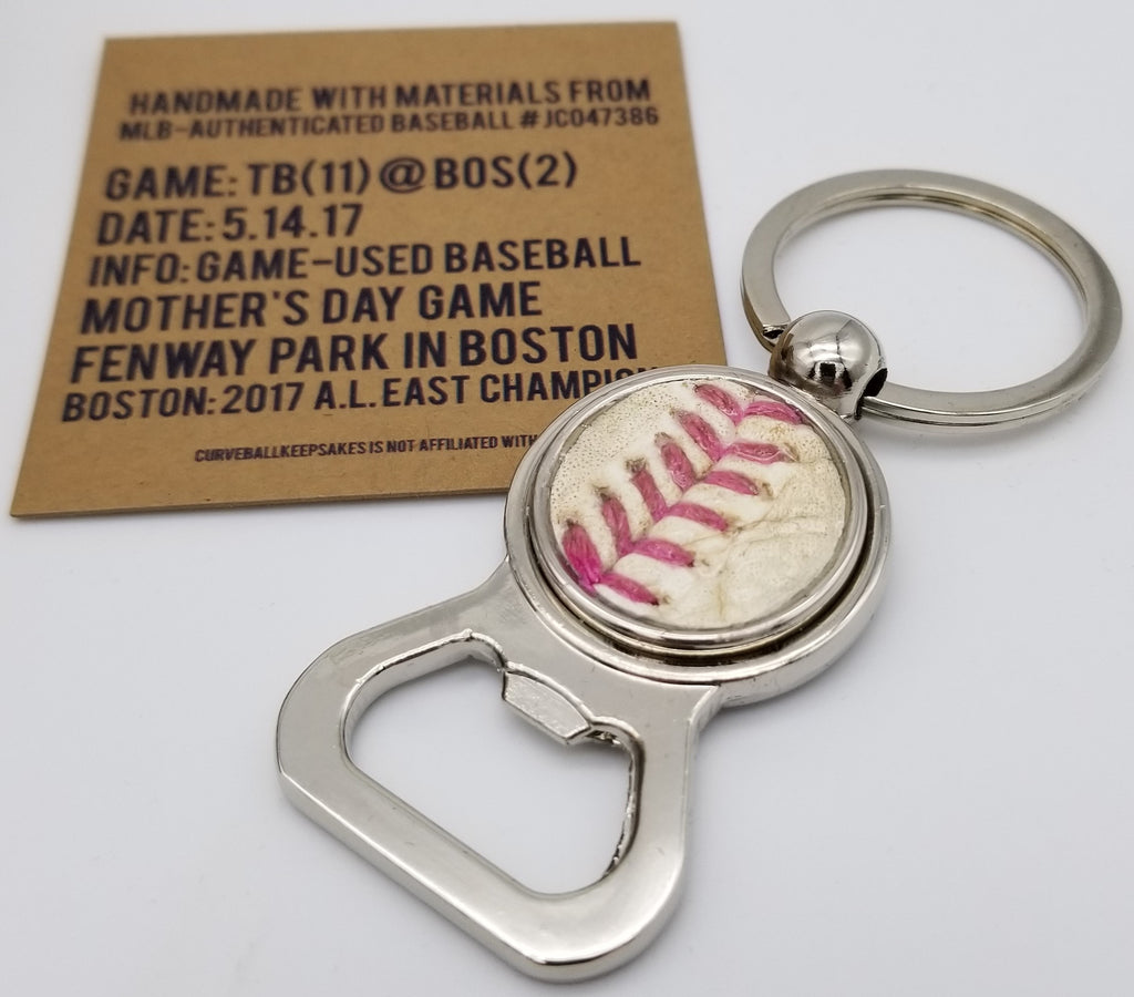 Game-Used Baseball Stainless Steel Bottle Opener Keychain - TB@BOS 5.14.17 - Mother's Day - Pink Laces