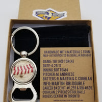 Game-Used Baseball Stainless Steel Bottle Opener Keychain - TB@TOR 4.29.17 - R. Martin Career Base Hit #1,259/RBI #695