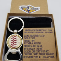 Game-Used Baseball Stainless Steel Bottle Opener Keychain - HOU@SEA 9.25.19 - Kikuchi and Bregman