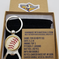 Game-Used Baseball Stainless Steel Bottle Opener Keychain - TOR@PIT 5.3.14 - J. Reyes Career Hit #1,608