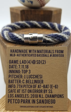 "9.5"" Rope Bracelet made from Yarn Baseball Windings - LAD@SD - Bellinger"