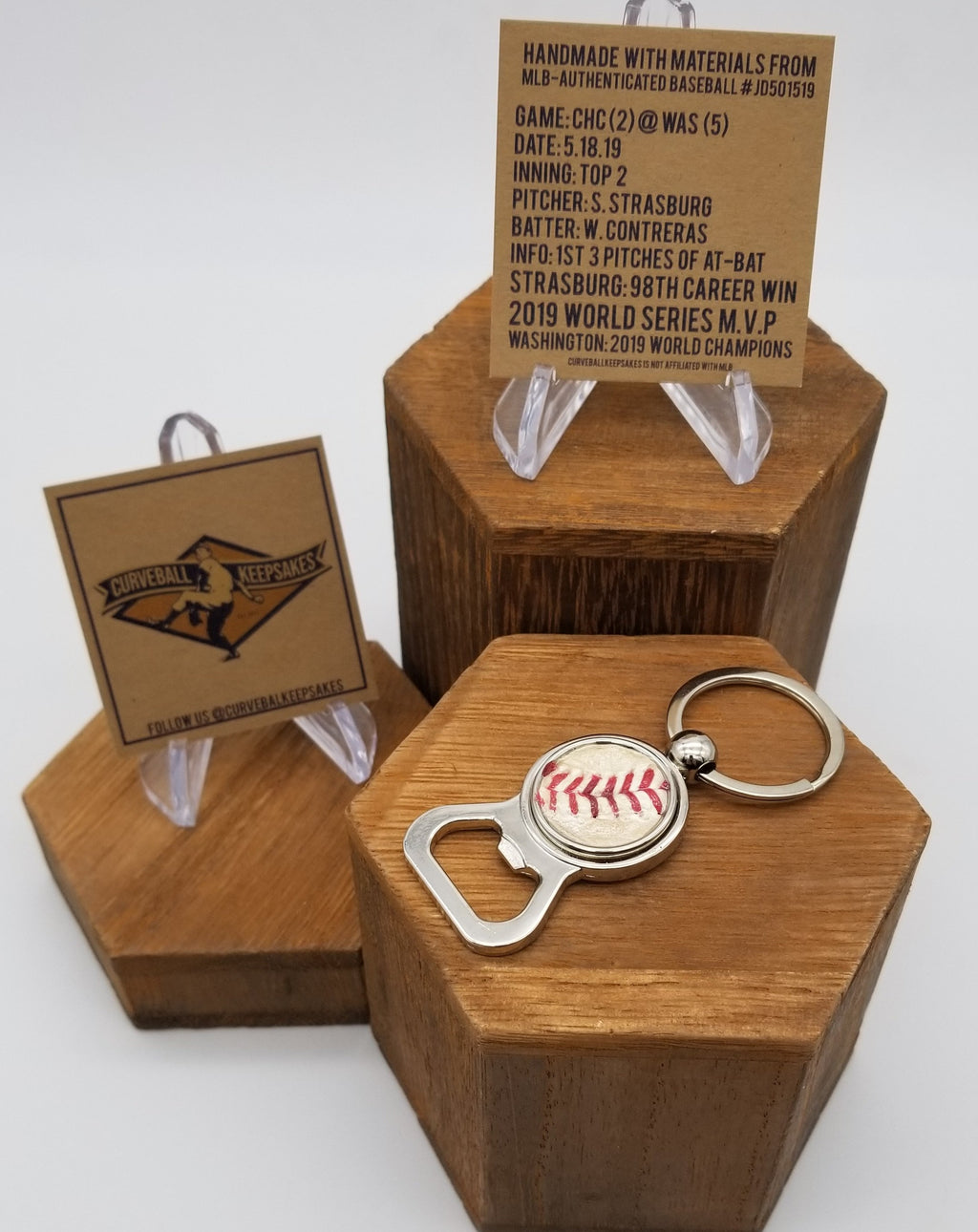 Game-Used Baseball Stainless Steel Bottle Opener Keychain - CHC@WAS 5.18.19 - Strasburg and Contreras