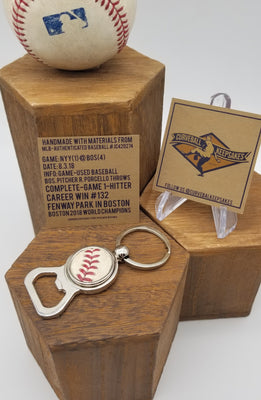 Game-Used Baseball Stainless Steel Bottle Opener Keychain - NYY@BOS 8.3.18