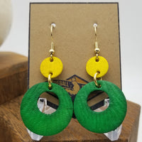 Hand-Dyed Baseball Leather Earrings - CLE@OAK 7/16/17