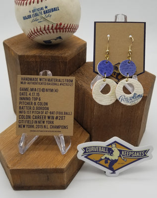 Game-used Baseball Leather Earrings - MIA@NYM 4/7/15 - Colon career win #207