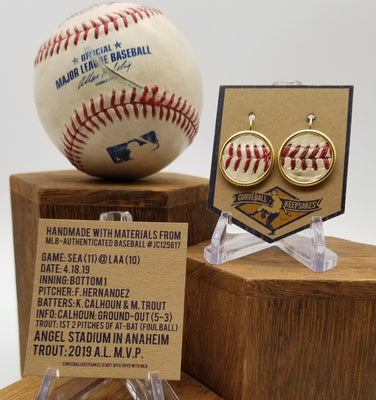 Game-Used Baseball Earrings - 18mm 24k Gold Plated - SEA @ LAA - King Felix pitched to Trout and Calhoun
