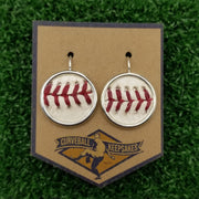 Game-Used Baseball Earrings - 18mm Silver-Plated - CIN @ CHC - Wrigley Field