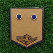 Game-Used Baseball Hand-Dyed Leather Stud Earrings - Silver Plated - TOR @ NYY - Yankee Stadium