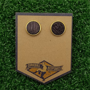 Game-Used Baseball Earrings w/ Hand-Dyed Leather- 11mm 24k Gold Plated - AZ @ SF - A. McCutchen Career Base Hit #1,472