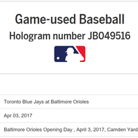 Example of baseball provenance via MLB.com