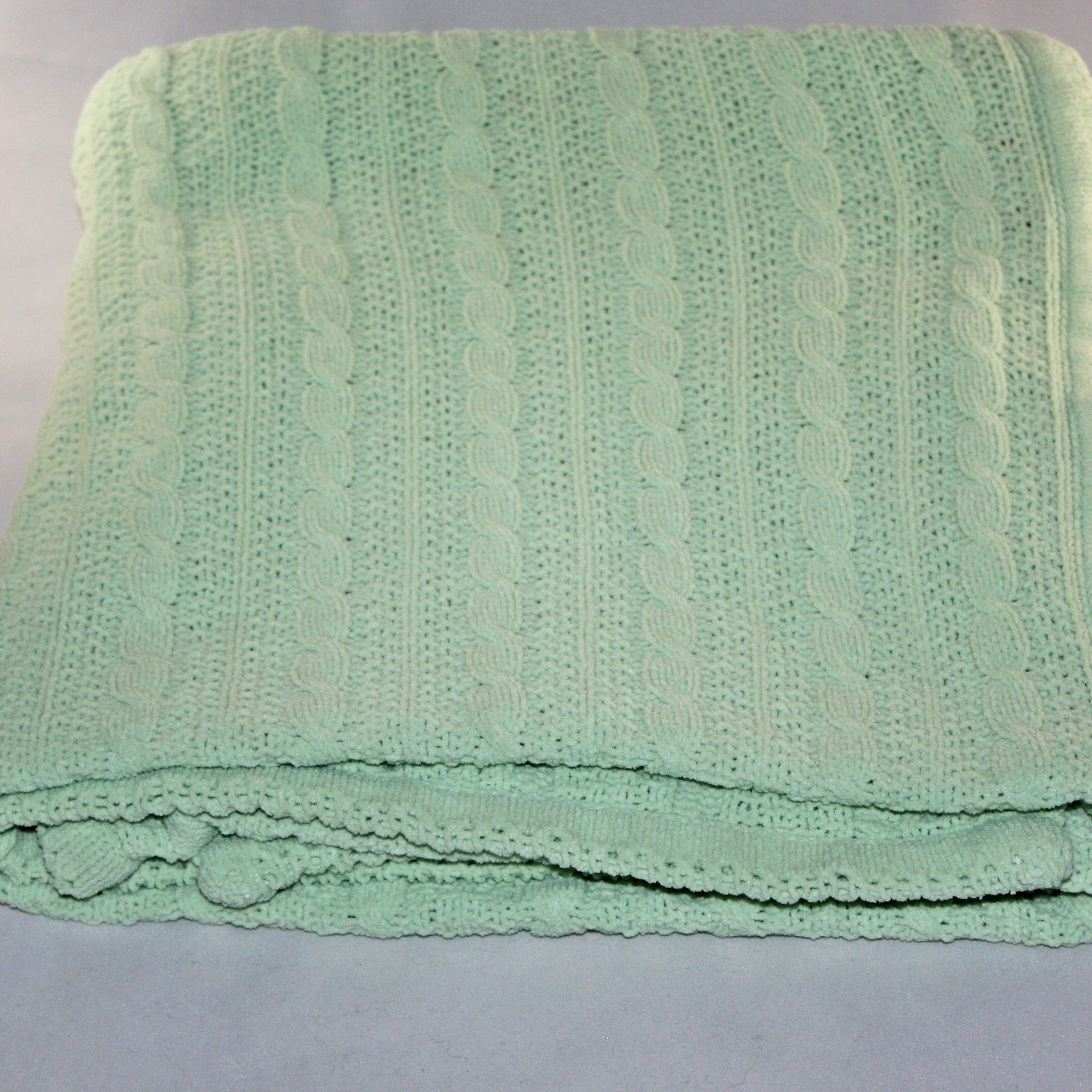 Amy Coe Limited Edition Green Knit Chenille Baby Blanket