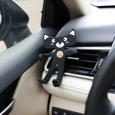 AOZBZ Car Cartoon Fortune cat shape Silicone Bendable Phone Holder Car Phone Stand Automotive interior accessories