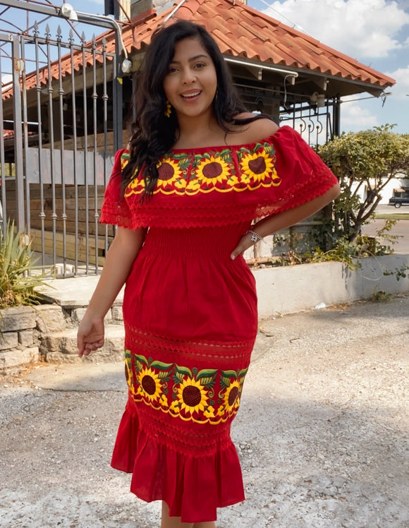Long Embroidered Girasol Dress